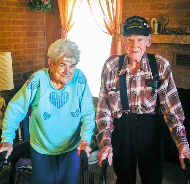 TWO-WAR VETERAN — Walt Autry (right) and his wife, Loraine, have been married for 73 years. The 93-year-old retired printer is a veteran of both World War II and the Korean Conflict. (ENTERPRISE PHOTO BY BRIAN BESCH)